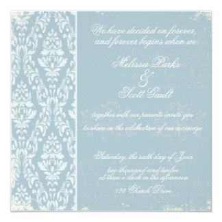 Azul de la invitación del boda del damasco del