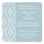 Azul de la invitación del boda del damasco del vin