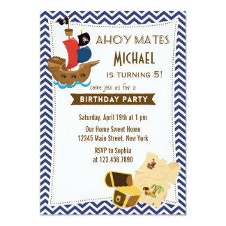 Azul de la invitación del cumpleaños del barco