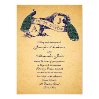 Azul de la invitación el | del boda del vintage
