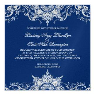 """Azul de la Invitar-Marina de guerra del boda del Invitación 5.25"""" X 5.25"""""""