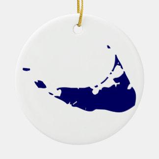 Azul de la isla de Nantucket Adorno Navideño Redondo De Cerámica