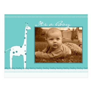 Azul de la jirafa su una invitación del muchacho tarjetas postales
