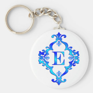 Azul de la letra E Llavero Personalizado