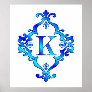 Azul de la letra K Póster