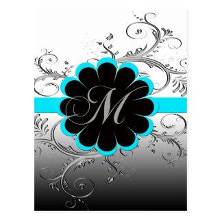 Azul de la letra M del monograma Postales