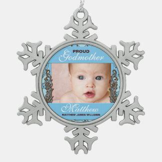 Azul de la madrina y foto orgullosos de Brown Adorno De Peltre En Forma De Copo De Nieve