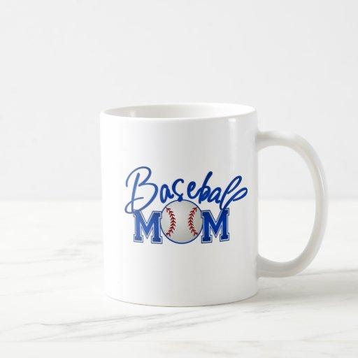 Azul de la MAMÁ del béisbol Tazas De Café