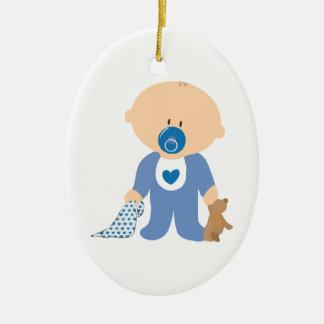 azul de la manta del pacificador del peluche del adorno navideño ovalado de cerámica