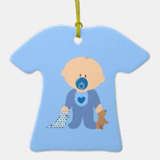 azul de la manta del pacificador del peluche del adorno de cerámica en forma de camiseta