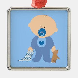 azul de la manta del pacificador del peluche del adorno cuadrado plateado