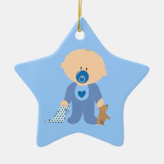 azul de la manta del pacificador del peluche del adorno de cerámica en forma de estrella