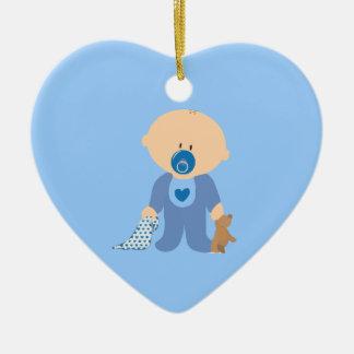 azul de la manta del pacificador del peluche del adorno de cerámica en forma de corazón