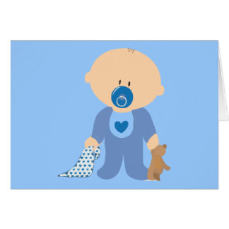 azul de la manta del pacificador del peluche del tarjeta de felicitación