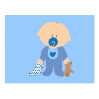 azul de la manta del pacificador del peluche del postales
