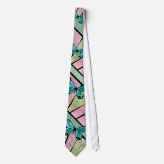 Azul de la mariposa en verde esmeralda corbata personalizada