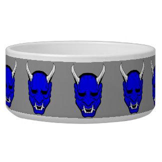 Azul de la máscara del diablo de Oni Comedero Para Mascota