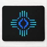 Azul de la muestra de Zia Sun Tapetes De Ratones