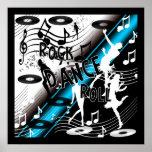 Azul de la música de danza del rock-and-roll del p poster