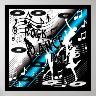 Azul de la música de danza del rock-and-roll del póster