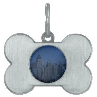 azul de la noche de Nueva York Placas De Mascota