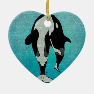 Azul de la orca adorno navideño de cerámica en forma de corazón