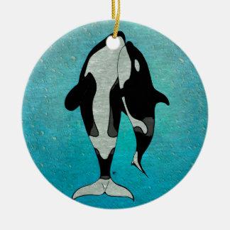 Azul de la orca adorno navideño redondo de cerámica