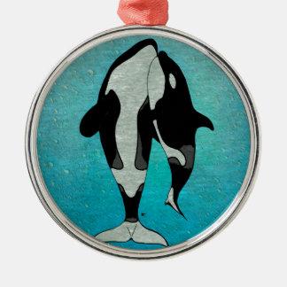 Azul de la orca adorno navideño redondo de metal