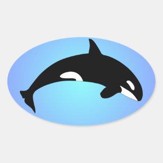Azul de la orca de la orca pegatina ovalada