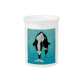 Azul de la orca jarras de beber