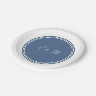 Azul de la orilla con el detalle blanco del boda platos de papel