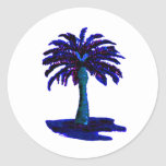 Azul de la palmera los regalos de Zazzle del MUSEO Etiquetas Redondas