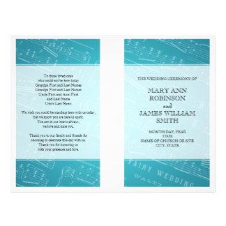Azul de la partitura del programa del boda flyer personalizado