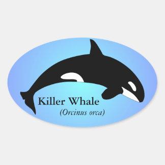 Azul de la pendiente de la orca de la orca pegatina ovalada
