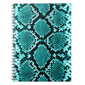 Azul de la piel de la serpiente de la serpiente de libros de apuntes con espiral