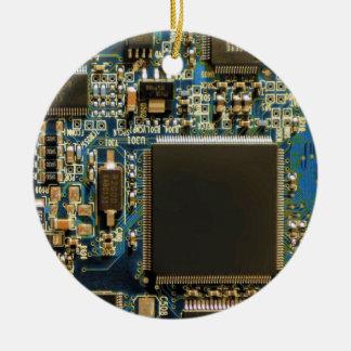Azul de la placa de circuito de la impulsión dura adorno navideño redondo de cerámica
