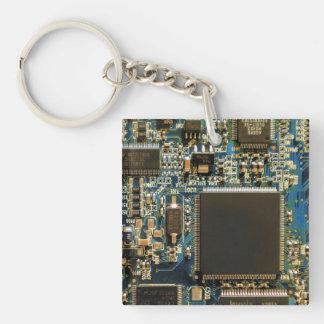 Azul de la placa de circuito de la impulsión dura llavero cuadrado acrílico a doble cara