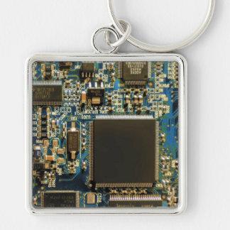 Azul de la placa de circuito de la impulsión dura  llavero cuadrado plateado
