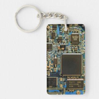 Azul de la placa de circuito de la impulsión dura llavero rectangular acrílico a doble cara