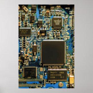 Azul de la placa de circuito de la impulsión dura  póster