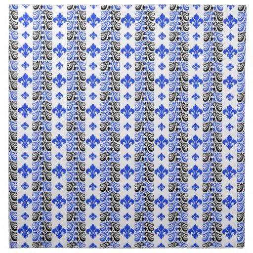 Azul de la raya 1a de Fleur Servilletas Imprimidas