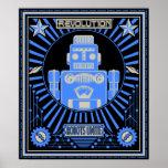Azul de la rebelión del robot poster
