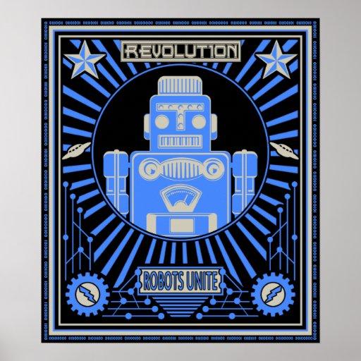 Azul de la rebelión del robot póster