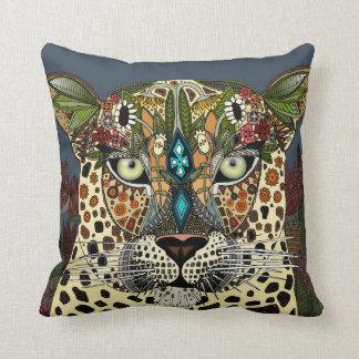 azul de la reina del leopardo cojín