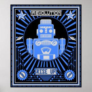 Azul de la revolución del robot posters