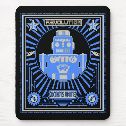 Azul de la revolución del robot tapete de ratones