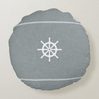 Azul de la rueda de la nave cojín redondo