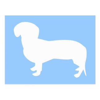 Azul de la silueta del Dachshund Tarjetas Postales