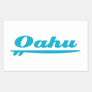 Azul de la tabla hawaiana de Oahu Pegatina Rectangular