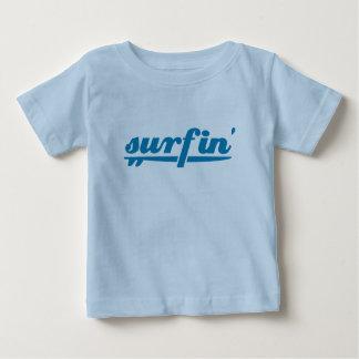 azul de la tabla hawaiana del surfin camisetas